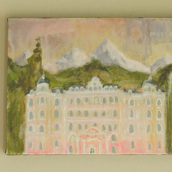 Free Shipping in US Art Painting Original Mixed Media Painting Grand Budapest Hotel in Pastel Chalk and Acrylic on Canvas