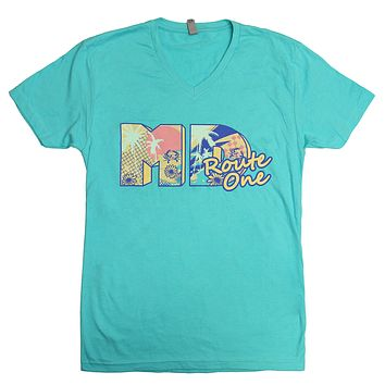MD Retro Summer (Tahiti Blue) / V-Neck Shirt