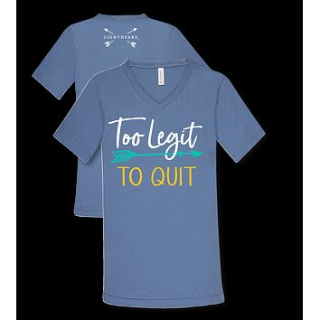Southern Couture Lightheart Too Legit to Quit Arrow V-Neck Triblend Front Print T-Shirt