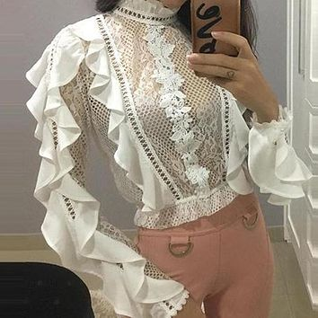 Women Fashion Hollow Out White Crop Tops and Blouse Embroidery Ruffle Female Shirt Ladies Plus Size