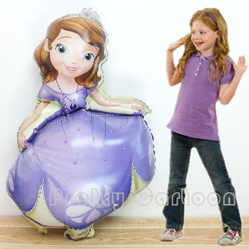 Giant 40 inch Princess Sofia Foil Balloon Queen Sophia Aluminum Balloons princess Party Decoration Inflatable Air Helium