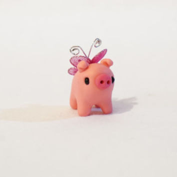 Polymer Clay Miniature spotted Fairy Pig (choose your color) , Cute Little Fimo Figurines Kawaii Style Fairy Animal