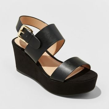 Women's Zenia Slide Sandals - A New Day™ Black
