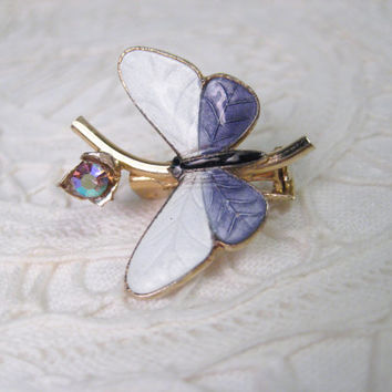 Vintage Butterfly Pin - Brooch, Enameled White with Lavender, Swavorski Crystal, Gold Tone Setting