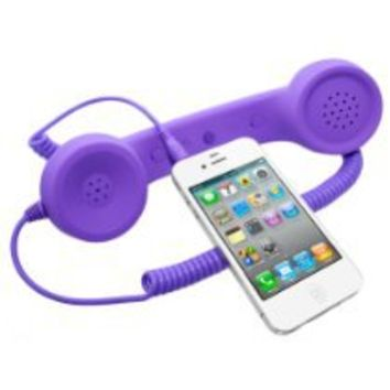 Universal MiniSuit Retro Headset/Handset Ear phone for iPhone, iPad, Blackberry, and Androids - Soft Touch - Purple