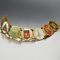 Vintage French Paris Decor Souvenir Enamel Bracelet
