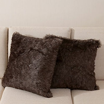 OJIA Best Soft Sheepskin Faux Fur Decorative Cushion Throw Pillow Cover Case 18x18 Inch Brown Black