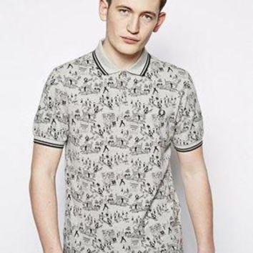 Fred Perry Margate Polo with Conversational Print - Gr