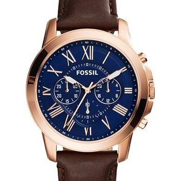 Fossil Mens Chronograph Grant Brown Leather Strap Watch 44mm FS5068