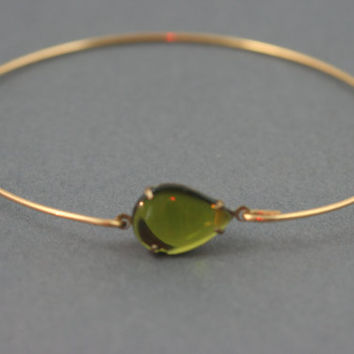 Olive oil drop  Bangle bracelet