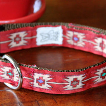 "Adjustable dog collar 11.5""  to 18"" neck size, Native American Design, Red Grosgrain Ribbon"