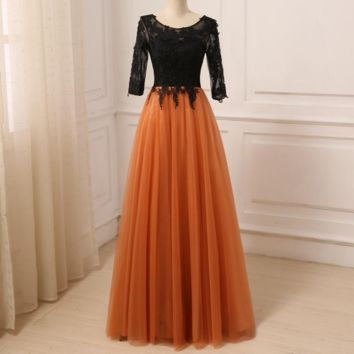 New Evening Dress Three Quarter Sleeves Long Floor Length Prom Gowns Contrast Color Tulle Applique Formal Party Dresses