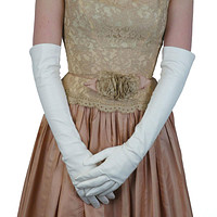 White Elbow Length Italian Kidskin Leather Gloves, Silk Lined 12-button   (NSP)