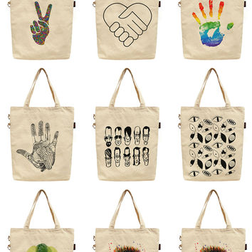 Women Parts of Body Printed Canvas Tote Shoulder Bag WAS_40