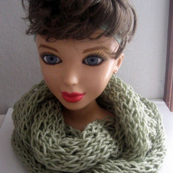 Sage Green Infinity Cowl, Winter Fashion, Fashion Accessories, Winter Wrap