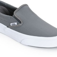 Vans Classic Grey Perforated Leather Slip-On Shoes