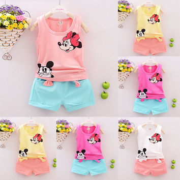 2pcs Toddler Kids Baby Girl Outfits Summer Top T-shirt+Leopard Pants Clothes Set