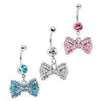 3 Pieces Bow Dangle Belly Ring With Stones Belly Button Ring, 316L Surgical Steel