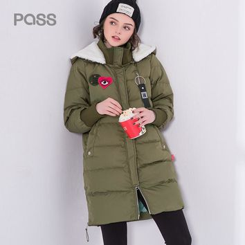 Winter Long Down Coat Women Casual Straight Long Length Coat Pocket Style Letter Print Hoodied Down Coat