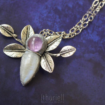 Moon Flower - Moonstone necklace, Amethyst pendant, Silver leaves, Chunky boho pendant, Gift for her, Best friend gift, lavender necklace