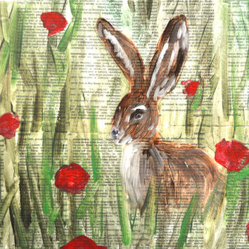 bunny art, bunny rabbit, rabbit art, rabbit print, brown rabbit, red poppies, red rose, red roses, flowers in field, rabbit and rose artwork
