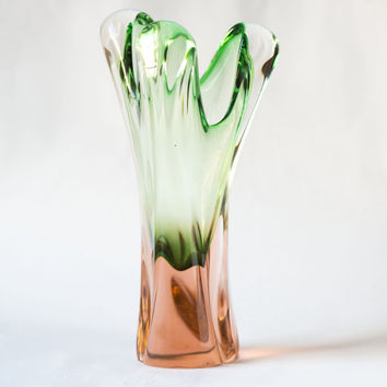 Pastel green and rose shades hand-blown vase, tall transparent glass vase Soviet, hand made glass vase home decor, heavy vintage art vase