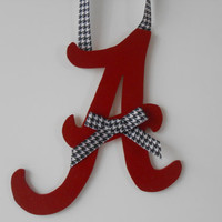 Bama Letter - Hand Painted Letter - Roll Tide - Team Letter - College Football - Houndstooth Letter - Graduation Gift - Dorm Decor