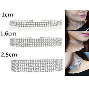 3-12Row Thick Wide Clear Rhinestone Crystal Choker Necklace for Women Set of 3