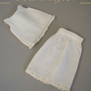 Mignonette ANTIQUE Doll Clothing Victorian CHEMISE Camisole Petticoat SLIP Lace Trim Undergarments 5 - 7 Inch Dolls Hand Sewn c.1890's!