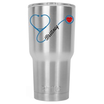 RTIC 30 oz Nurse Heart Stethoscope Blue Personalized on Stainless Tumbler