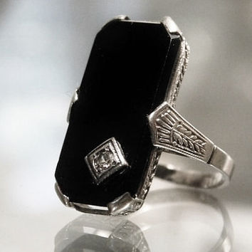 14K Art Deco Black Onyx Diamond Ring 14K White Gold Mourning Ring Antique Edwardian Filigree Ladies Pinky Ring Estate Heirloom Jewelry