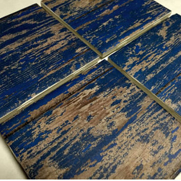Blue Coasters, Blue Wood Design Ceramic Tile Coasters