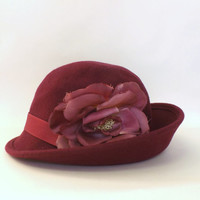 Vintage Retro 1970's Women's Blossom Maroon Pink Wool Hat Slouch Hat Cloche Fall Accessories 1930s 1920's Style Hat Flapper Boho Art Deco