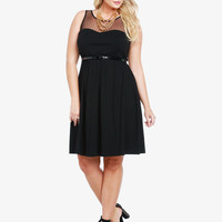 Swiss Dotted Mesh Yoke Dress | Torrid