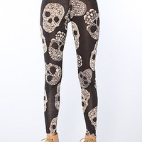 The Delicate Skull Print Leggings in Black