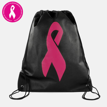 Black Pink Ribbon Non-woven Pull-String Bag