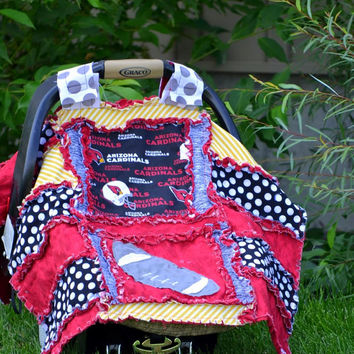 Football CAR SEAT COVER, Rag Quilt Style, Black, Arizona Cardinals,  Ready to Ship in 1 Business Day