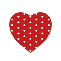 white_polka_dot_red_background pattern retro style heart sticker