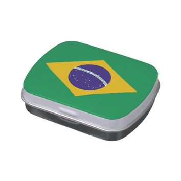 Patriotic candy tins with Flag of Brazil