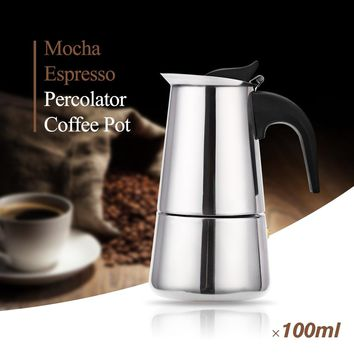 Stainless Steel Moka Coffee Maker Mocha Espresso Latte Stovetop Filter Coffee Pot 100ML 200ML 300ML 400ML Percolator Tools Pots