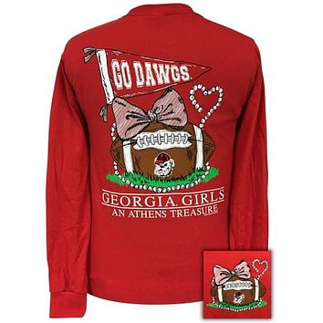 Georgia Bulldogs Athens Treasure Pearls Bow Long Sleeve T-Shirt