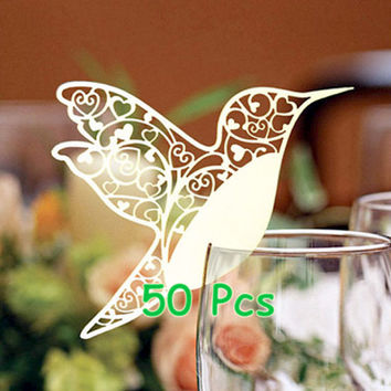 hummingbird place card Filigree open your heart bird humming bird placing card custom wine glass card wedding table decoration