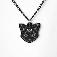 Gothic Cat and Crescent Moon Necklace