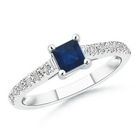 AA Square Blue Sapphire and Round Diamond Engagement Ring - SR0725SD