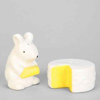 Mouse With Cheese Salt + Pepper Shaker Set- White One