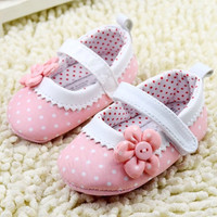 Princess Pink Flower Dot Baby Shoes
