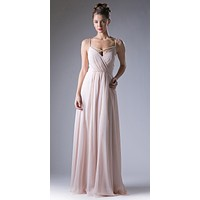 Plunging V-Neck Strappy Bodice A-Line Long Formal Dress Champagne