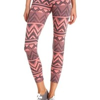 Cotton Tribal Chevron Printed Leggings by Charlotte Russe - Coral