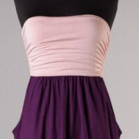 Fun in the Sun Pale Pink and Deep Purple Strapless Dress with Pockets