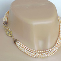 Peach Pearl Classic Necklace Handcrafted Multi Strand Gold Short